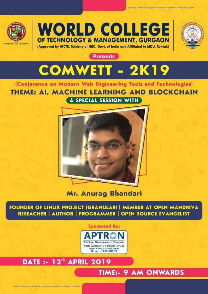 COMWETT 2019 poster at WCTM featuring Anurag Bhandari