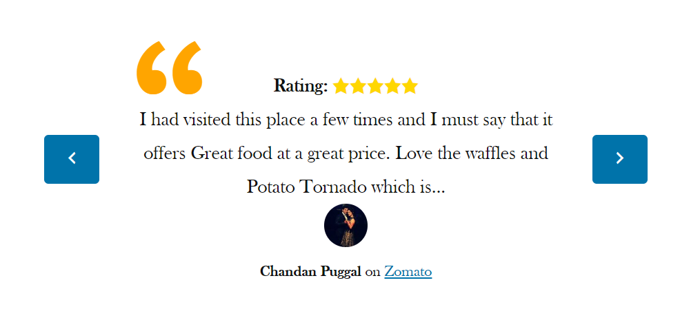 Screenshot of My Restaurant Reviews widget